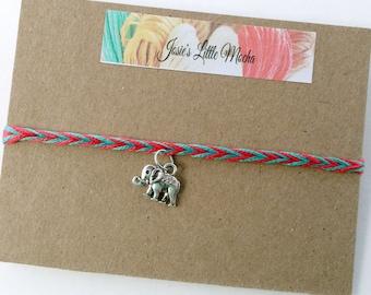 Elephant Friendship Bracelet / Lucky Elephant Bracelet / Elephant Bracelet / Silver Elephant Bracelet / Wish bracelet / Charm bracelet