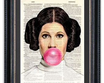 Star Wars Princess Leia with Bubble Gum, Dictionary Art Print, Star Wars Art Print,Star Wars Princess Leia