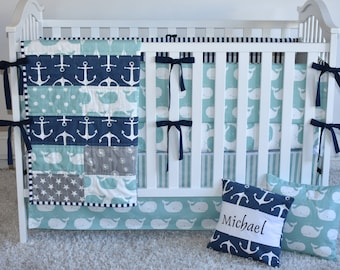 Anchors and Whales Crib Bedding, modern nursery, modern quilt, nautical, whales, anchors, minky quilt, crib bedding, bedd