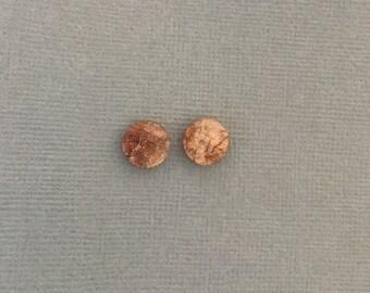 Golden Apricot Luxe Resin Stud Earrings - Glitter Earrings - Resin Earrings