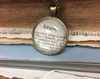 BRAVE Vintage Dictionary Word Pendant