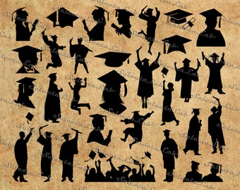Digital SVG PNG, graduation silhouette, college, university party, clipart, vector, silhouette, instant download