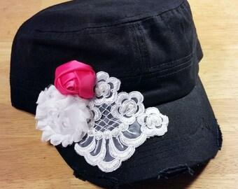 Girls Cadet Hat, Cadet Hat, Girls Blingy Hat, Military Cadet Hat, Girls Hat, Rhinestone Hat, Hat for Women, Distressed Cadet Hat, Flower Hat
