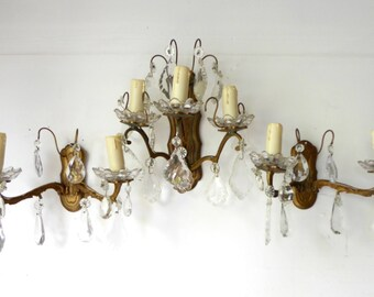 French Vintage brass metal wall sconces set of 3