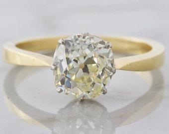 1.94 ct Antique Cushion Cut Diamond Solitaire Engagement Ring