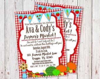 Farmer's Market Party Invitation, Gardening Party, Farmer's Market Birthday, Farming Birthday Invites, Farmer's Market First Birthday Party