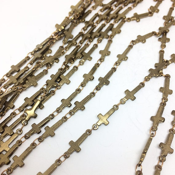 Meters raw brass cross connectors welded oval link chain