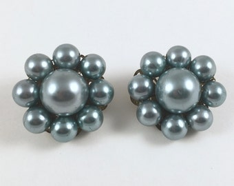 Blue Bead Clip On Earrings, Vintage 1950s, 1960s, Mid Century Costume Jewelry, Cluster Earrings, Gift Box