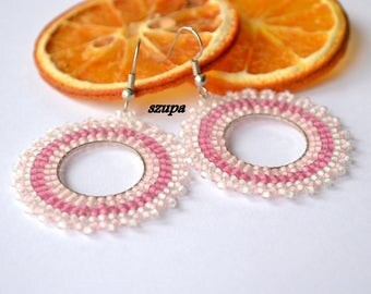 Hoop beaded earrings, handmade earrings, pink earrings, seed bead earrings, woven earrings, pink earrings, beading jewelry, gift for her, uk
