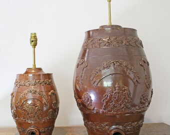 Antique Table Lamps. 2 Stone Ware Spirit Barrel Lamps - Early 19th C
