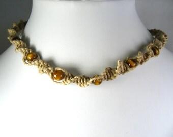 Hemp Twist Necklace with Tiger's Eye Stone Beads