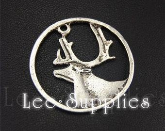 10pcs Antique Silver Alloy Deer Round Charms Pendant A1953