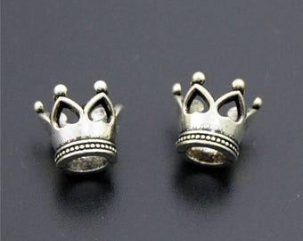 20pcs Antique Silver Mini 3D Crown Charms Pendant A2280