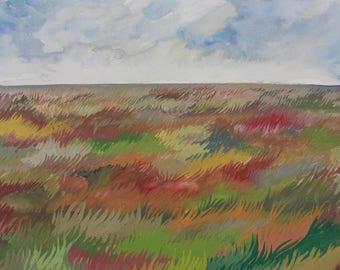 Rainbow Grass Field, Original Painting in Gouache, A3