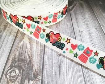 """Cheerleader ribbon - I love to cheer - Cheer mom - Cheer bow DIY - Do it yourself - Make hair bows - Hair bow ribbon - 1"""" grosgrain ribbon"""