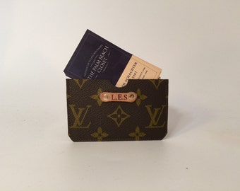 Louis Vuitton Card Case! Upcycled LV Monogram Canvas! Men's Wallet or Womens wallet Credit card or business card case! Personalized (extra)