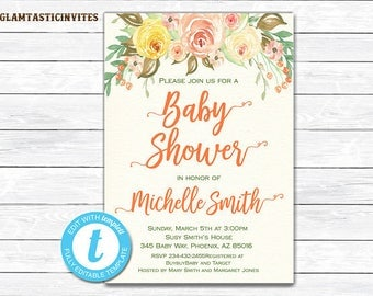 RUSTIC BABY SHOWER Invitation, Floral Baby Shower Invitation Printable, Boho Baby Shower Invitation, Flower Baby Shower Invitation, Baby