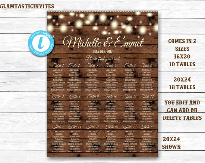 Wedding Seating Chart Template, Personalized Wedding Seating Chart, Rustic Wedding Seating Chart, YOU EDIT, Rustic Seating Chart Template