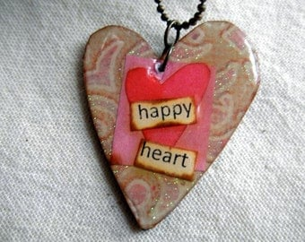 Happy Heart....Necklace....Sweet and Pretty|Rustic|Romantic Jewelry