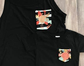 Mommy and Me Tshirt, Tshirt Set, Black & White Striped Floral