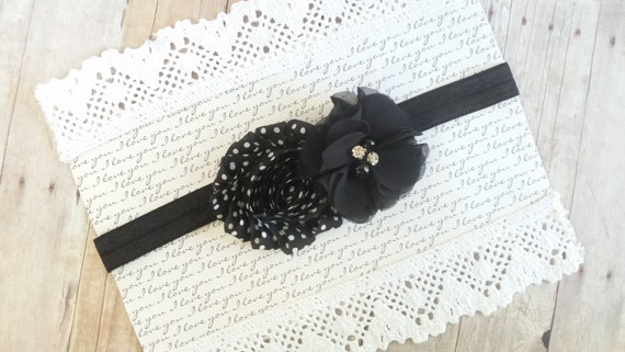 Black Shabby Chic Headband, Polka Dot Headband, Shabby Chic Headbands, Flower Headbands For Babies, Headband Flower, Headband Bows ute Bows