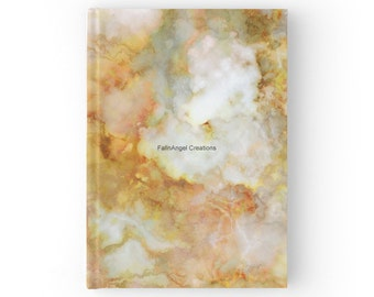 Gold Rippled Marble Hard Cover Book Journal - You Choose Paper Style!