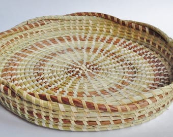 Sweetgrass Jewerly Tray with braided Edge-,Sweetgrass Baskets, Gullah Baskets, African Baskets, Hand Woven Baskets Charleston,SC