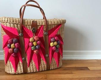 straw bag, beach bag, woven bag, vintage straw bag, shopping bag, reusable shopping bag, woven tote, pink bag, straw bag, vintage bags