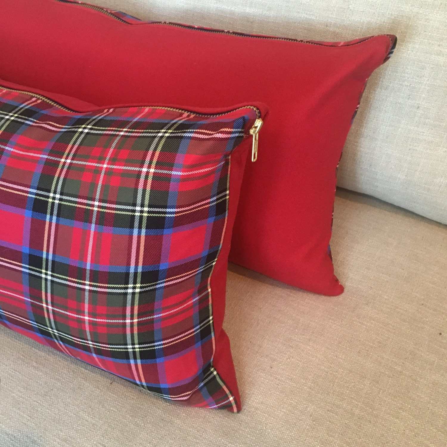 Cherry Red Plaid Lumbar Pillow Cover, Christmas Plaid Pillow Cover ...