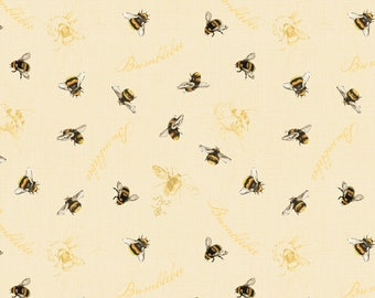 1/2 yd Follow the Sun Allover Bumblebees by Lisa Audit for Wilmington Prints Fabric 86431 159