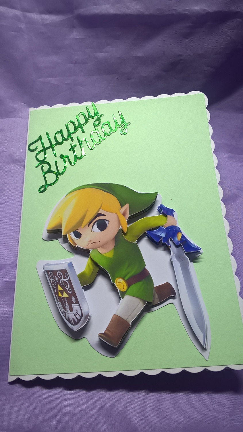 Toon Link Birthday Carda Name Age Or Family Member Can Be Added If You