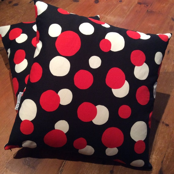 Retro Black, White and  Red Polka Dot Reversible Quality Cotton Cushion Covers, Various Sizes