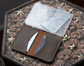 Folded Leather Card Holder With Holes Acrylic Template - Leathercraft Pattern