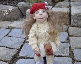 Handmade Doll- Madzia -50cm (MO 15'12) - textile doll- fabric doll- rag doll- home decoration- handmade toy-cloth dolls-fabric dolls