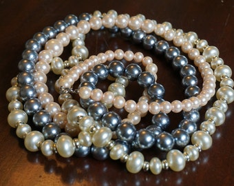 Set of 3 Faux Pearl Necklaces/ Gray Pearls/ Pink Pearls/ Off White Pearls/Great Gatsby style