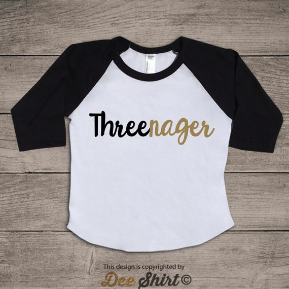 Third birthday t-shirt; 3rd birthday shirt; kids b-day tee; 3 year old infant newborn outfit; threenager; xmas new years gift for boys girls