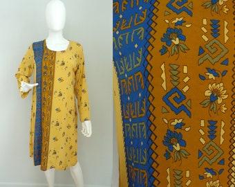 Vintage 90s Tribal Print Kurta, Striped Print Dress,  Layering Dress, Ethnic Dress, Hand Tailored Dress, Large, Tribal Dress, Summer Dress