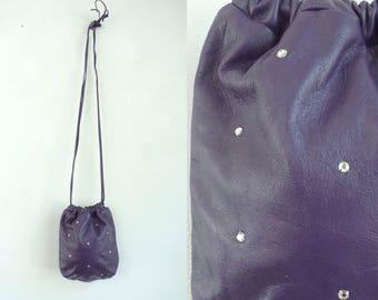 Vintage Letisse Purple Leather Purse, Purple Leather, Leather Purse, Shoulder Bag, Letisse, Drawstring Bag, Rhinestones, Fancy Purse,Evening