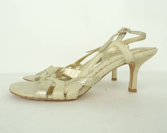 Gold Slingback Heels, Nina Open Toe Sandals, Metallic Faux Leather Gold Shoes, Leather Soles Slingback Shoes, Fancy Evening Sandal Size 6M
