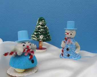 Vintage Cotton Spun Snowman Decoration Blue Glitter Chenille Cardboard Christmas Putz Mica Handmade Japan Art Winter Decor Gift