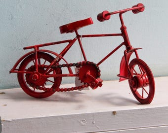Indian Handicraft Iron Metal Wood Miniature Bicycle Home Decor Red and Blue AVailable
