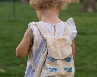 Backpack with whale stamps  Rucksack School bag Toddler backpack