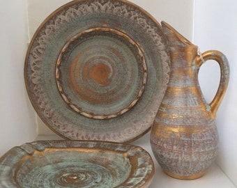 3 piece set/ Vintage 1950s Stangl Pottery Ceramic 22-Karat Antique Gold & VINTAGE Stangl Pottery Bird Figurine REDSTARTS Double Birds
