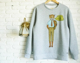 Fantastic Mr Fox Sweater Men Fox Sweatshirt for men Gray Sweater Wes Anderson Hand-painted Mens Sweatshirts Boyfriend Gift