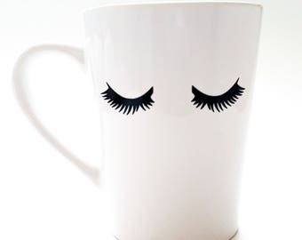 Eyelash Mug, Eyelashes, Coffee Mugs, Tea Mugs, Black and White Mug, Mugs, Fashion Mug, Custom Mug, Girly Mugs, Gift for Her, Ceramic Mug