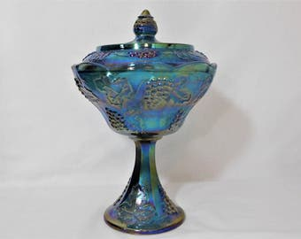 Vintage Indiana Glass Blue Carnival Glass Compote, Harvest Grape, Iridescent Blue Pedestal Candy Dish, Wedding Tableware