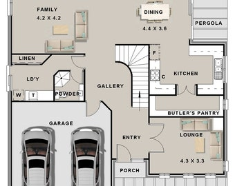302 m2 | 4 Bed + Study Nook + 3 Living Areas | 2 Storey design balcony | plans Butler's Pantry | 2 story design | narrow lot 2 storey plans