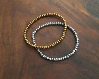 Mini Stacker Bracelet - Stacking Bracelet - Gold Stacking Bracelet - Silver Stacking Bracelet - Hematite Stacking Bracelet