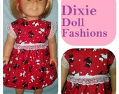 """Dixie-crafted Scotties Dress to fit 18"""" Dolls including those from the American Girl Doll Clothes Company"""