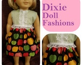 """Dixie-crafted! Apple Tarts Dress designed to fit 18"""" Dolls including those from the American Girl Doll Clothes Company"""